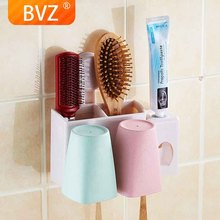 BVZ Bathroom set toothbrush holder set with cups automatic toothpaste dispenser Squeezer bathroom organizer Wash Gargle Cup 3pcs bathroom accessories toothbrush holder ceramic green plant couple toothpaste cup holder with bamboo tray nordic cups set