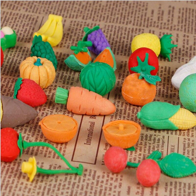 Купить с кэшбэком 1X Cartoon eraser lovely fruits and vegetables modelling eraser children stationery gift prizes  kawaii office school supplies