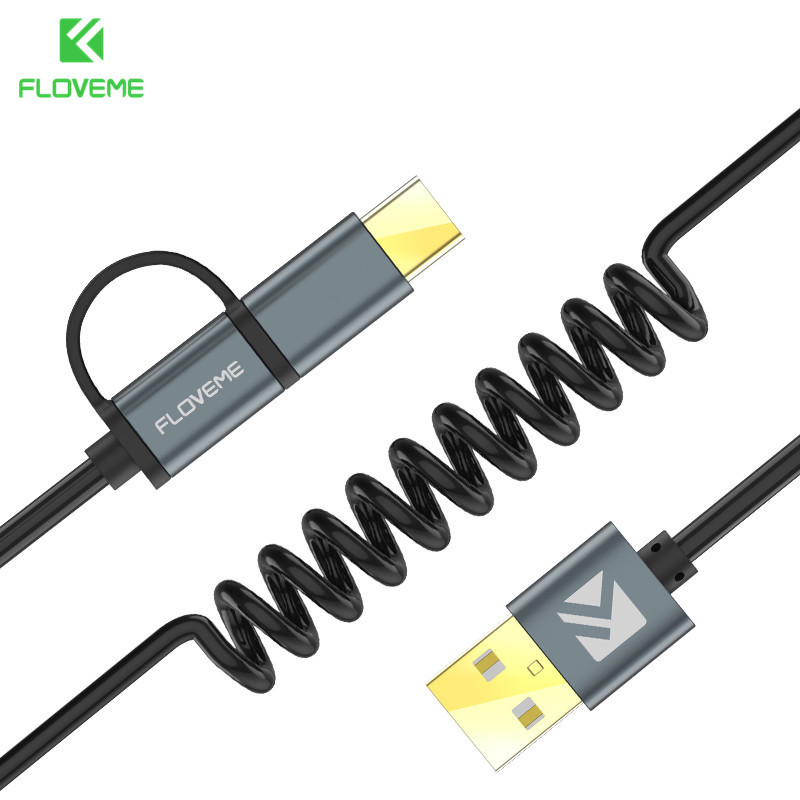 FLOVEME 2 in 1 Micro USB-kabel Type C QC 3.0 USB-C-kabel Snelle oplader voor Samsung Galaxy S8 Xiaomi 4X Android mobiele telefoon Cabo