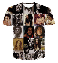 2017 casual Bob Marley male hiphop male concert shirt O-neck sweatshirt 3d print women/men cartoon pullover summer Tees T-shirts
