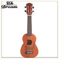 23 inch 17 Frets 4 Strings Ukulele Mahogany Rabbit Acoustic Guitar Closed Knob Wood Natural Color Small Hawaii Guitar UC ZHTU