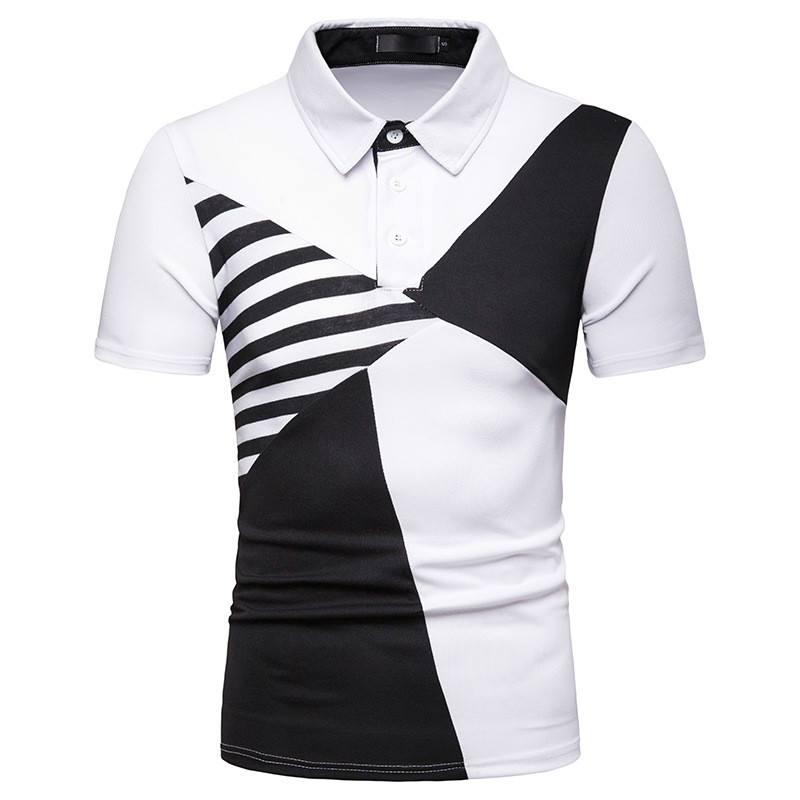 Men's summer new   POLO   shirt men's   polo   sports shirt men's multi-color striped stitching   POLO   shirt large size men's clothing 201