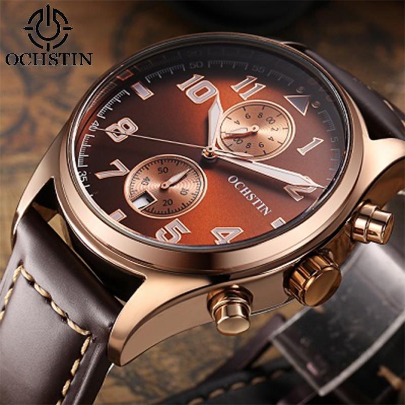 OCHSTIN 2017 Mens Watches Top Brand Luxury Leather Business Quartz-Watch Men Fashion Casual Sport Wrist watch Relogio Masculino