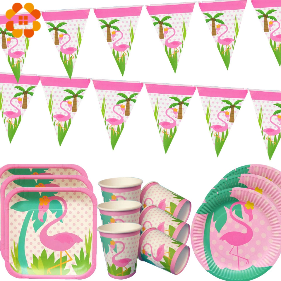 Flamingo Theme Disposable Tableware Sets Champagne Party Cup Plate Party Supplies Wedding/Kid Birthday/ Pool Party Decoration