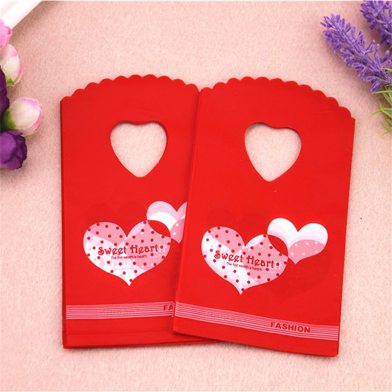New Design Hot Sale Wholesale 50pcs/lot 9*15cm Small Red Wedding Candy Packaging Double Sweet Heart Plastic Mini Gift Bags