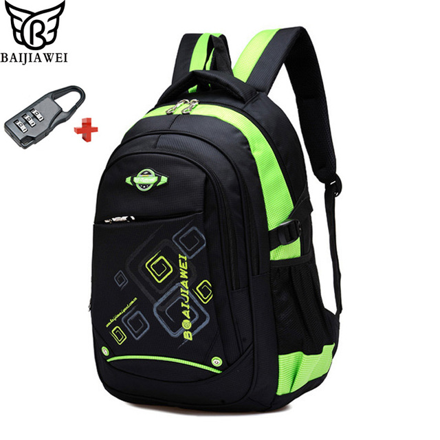 BAIJIAWEI Children School Bags With Lock Teenager Waterproof Primary School  Backpacks For Girls Boys Mochila Infantil Zip 77e2a501c582b