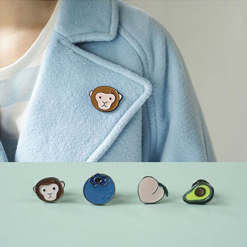 Sale 1PC Cute Monkey peach fruit animal Hat Denim Jacket Badge Pin Fashion Jewelry Brooches For Women broche de mujer