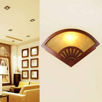 ФОТО Chineses fan design red wood art wall lamps Modern yellow parchment shade E27 LED lamp for bedroom&porch&stairs&studio QLBD0010