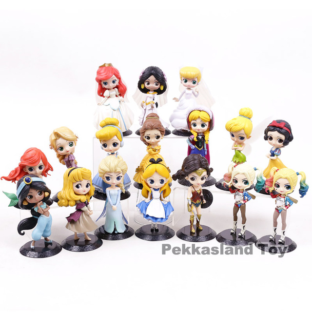 US $2 45 18% OFF Q Posket Characters Princess Aurora Alice Wonder Woman  Harley Quinn Anna Elsa QPosket Princesses Dolls Figure Toys Boxed-in Action  &