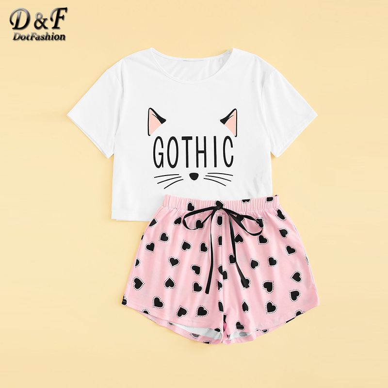 Image 2 - Dotfashion Cartoon Cat And Letter Print Tee With Heart Shorts PJ Set 2019 Summer Pajamas For Women Casual Short Sleeve Sleepwear-in Pajama Sets from Underwear & Sleepwears