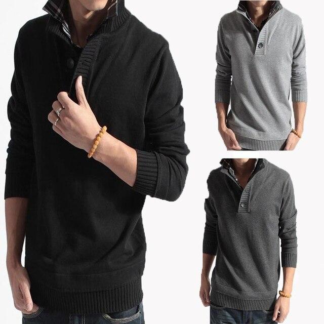 2016 best goods 2016 Men Casual Sweater Collar Buttons Slim Pullover