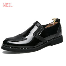Designer Black Gold Patent Leather Wedding Formal Shoes Men Work Dress Shoes Loafers Banquet Party Office Oxford Shoes for Men piergitar 2018 new black patent leather men loafers with gold luxurious embroidery fashion party and wedding men s dress shoes