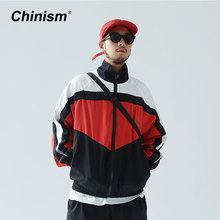 CHINISM New Vintage Color Block Zip Up Jackets Brand Embroidery Stand Collar Contrast Jacket Hip Hop Casual Track Jackets
