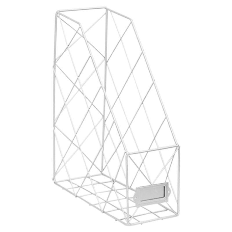 Скандинавские креативные органайзеры для журналов Ins, полированный металл, железная папка для документов, для офиса, рабочего стола, сетка для файлов - Цвет: Белый