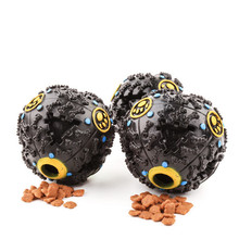 New Pet Rubber Toy Funny Chew Sound Ball Dog Cats Squeaky Leakfood Ball Toy Black Color