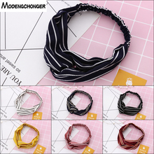 New Popular striped Headband Lovely girl Hairbands with fashion Cloth Art Hair Belt and Women Headwear Hair Accessories