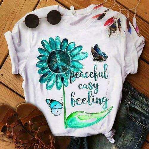 Hippie Peaceful Easy Feeling White TShirt M-6XL Men Women Unisex Fashion tshirt Free Shipping