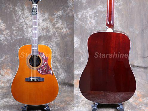 Starshine 6 cordes guitare acoustique ZZ-HMY Fishman 101 EQ, haut rigide, écrou d'os et selles ronflant oiseau Pickguard Grover Tuner