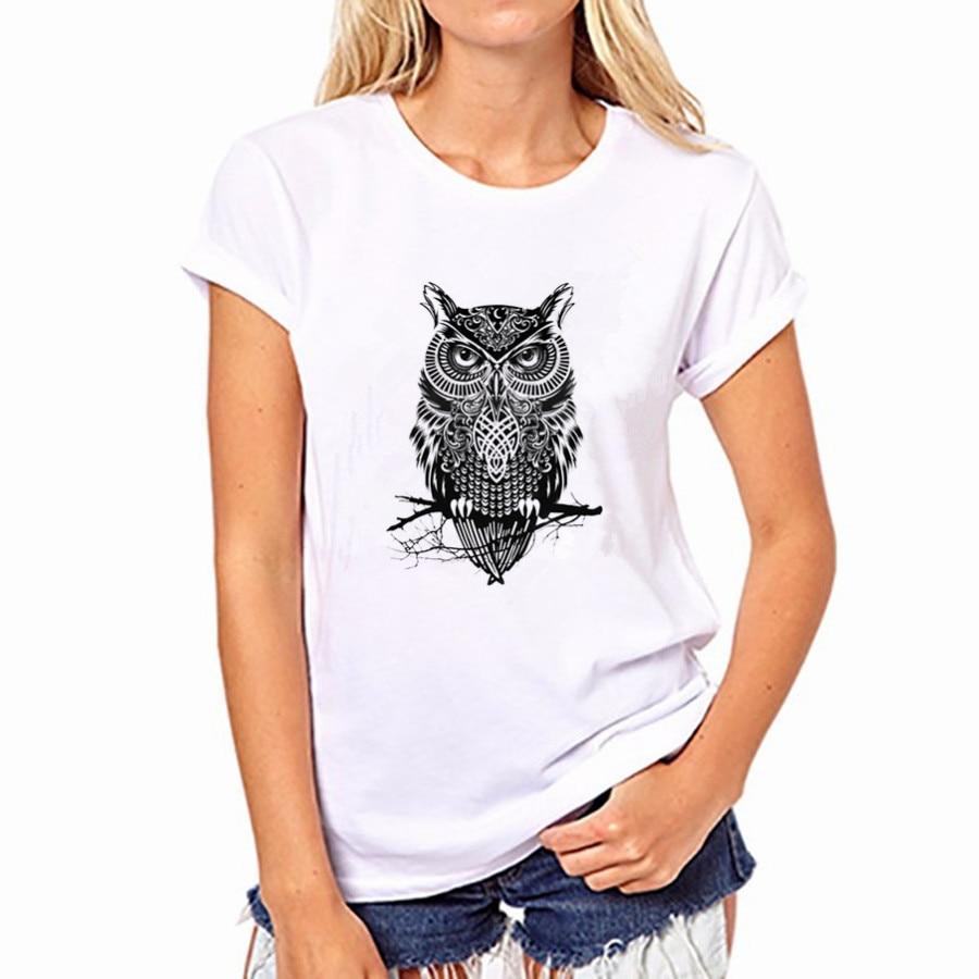 2016 Casual Women Cotton T-shirt Owl Print 20 Colors Round Neck Short Sleeved Women Top Shirt NFS-YH41