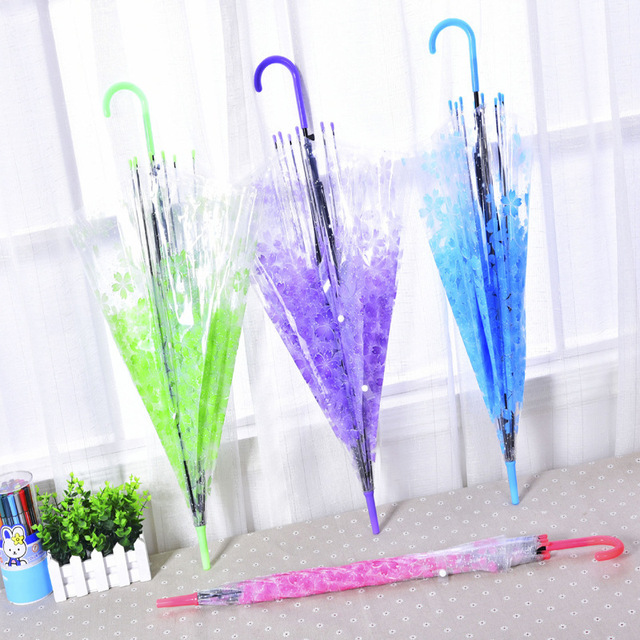 Красивый прозрачный дождевой Зонт Сакура ПВХ зонтики с длинной ручкой зонтик с прямым хвостиком
