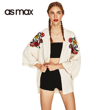 asmax 2017 White Summer Fashion Sweater Women Casual Flare Embroidert Jumper Sweet O-neck Long Sleeve Lady Pullovers