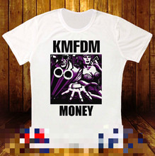 662359b21 KMFDM dinero frente INDUSTRIAL línea Asamblea señores de ácido nueva  camiseta blanca 512 Collar personalizado camisetas top tee