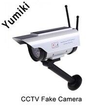 Yumiki Outdoor Solar Power Fake IP surveillance camera Dummy Outdoor Security Home CCTV Camera Flashing LED light FC