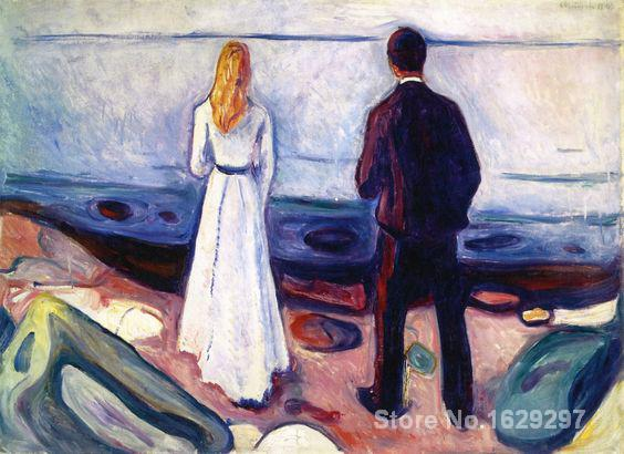 modern painting for kitchen Two Human Beings (The Lonely Ones) Edvard Munch High quality Hand paintedmodern painting for kitchen Two Human Beings (The Lonely Ones) Edvard Munch High quality Hand painted