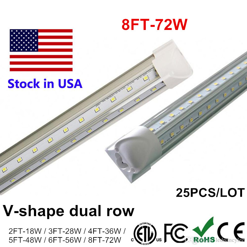 Tube LED Light 2400mm 2.4m 240cm 8ft 4ft 5ft 6ft T8 Integrate V Shape T8 LED Tubes Lamp 8 feet 72W Cooler Door Lighting SMD2835 купить