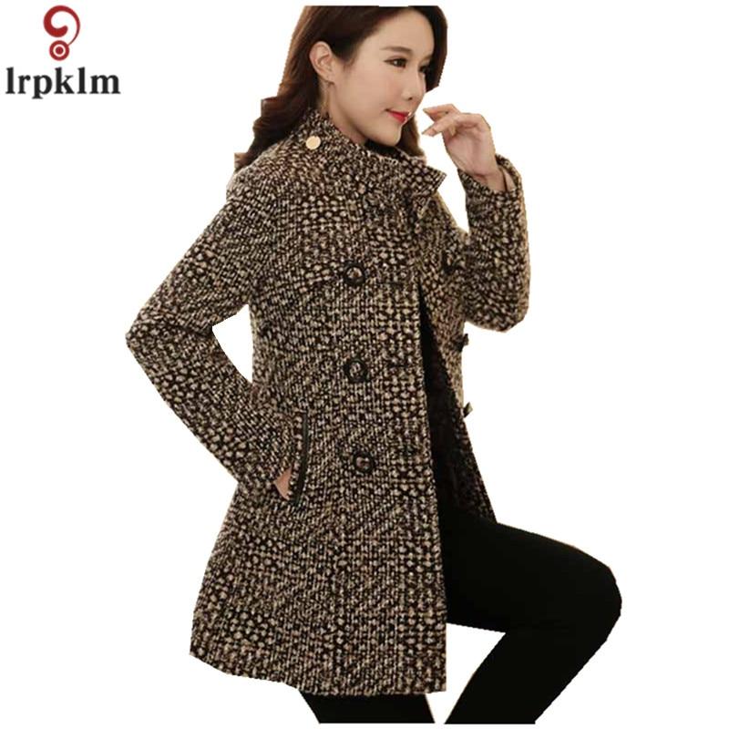 Las mujeres abrigo a cuadros 2018 de lana de invierno chaqueta abrigos para mujeres de lana chaquetas de otoño coreano engrosamiento ropa LZ883