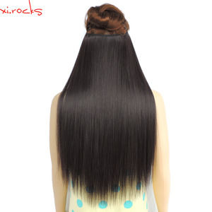 ysz8060/5pieces xi.rocks Synthetic Hair Colors Extension wigs Halo or Sew in Straight Elastic rope Double Weft Brown Blonde wig