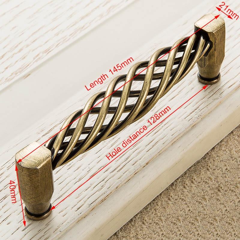 KAK винтажные антикварные бронзовые ручки для шкафа, полые ручки для птичьей клетки, ручки для выдвижных ящиков, Съемники дверей шкафа, Мебельная ручка - Цвет: 3004-128 Bronze