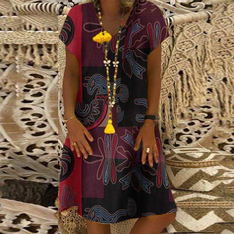 ZANZEA Women Summer Short Sleeve Cotton Linen Dress Vestido Robe Kaftan Femme Vintage V neck Floral Printed Party Sundress 5XL 1