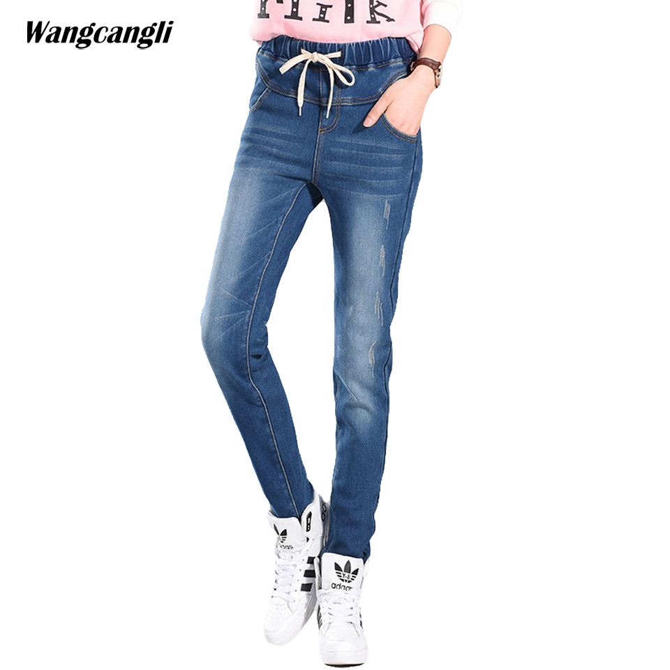 women jeans large size 5XL tight moustache effect elastic waist jeans blue black four seasons trousers sexy woman 3XLwangcangli wangcangli jeans women shorts light blue large size denim fat sister elastic waist mid waist jeans moustache effect summer 4xl
