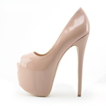 Nude Patent Leather High Heeled Pumps Women Shoes Spring Autumn Peep Toe Dress Shoes 16CM High Platform Slip-on Shoes Big Size
