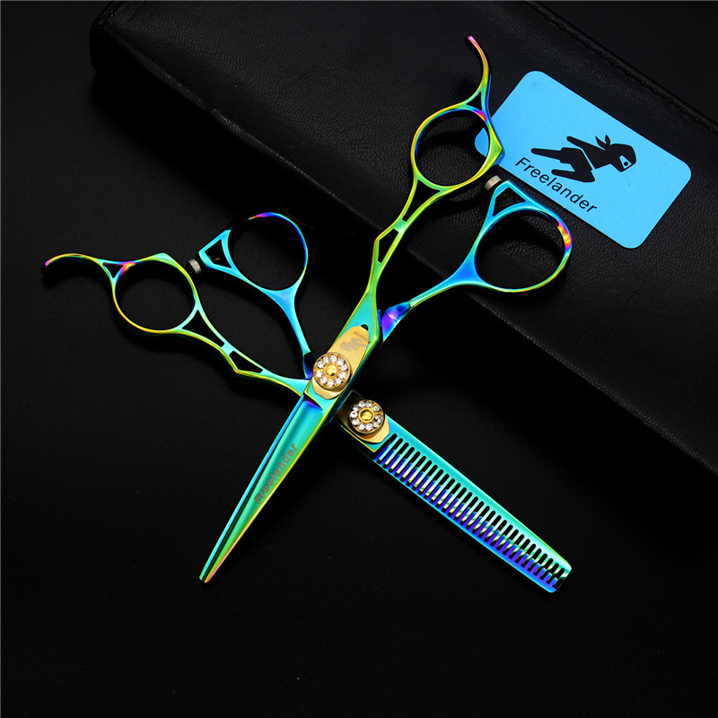 Freelander 5.5 inch Hairdresser's Scissors Hollow Handle Hair Split Hair Cutting/ thinning Shears Set with Case Barber Tools