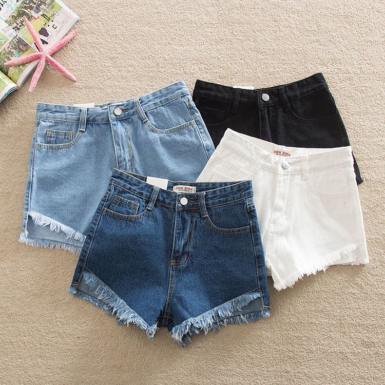 2019 Ripped New Fashion Women Hot Blue White Black Solid Woman Color Denim   Shorts   Girls Casual Pockets Zipper Female   Short   Jeans