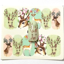 1Pcs elk pattern nail sticker sika deer designs transfer water decal Nail Art Nail Decoration for Manicure Watermark A17/A18/A19 3d nail art fimo soft polymer clay fruit slices cartoon for nail manicure sticker cell phones diy designs wheel decoration czp35