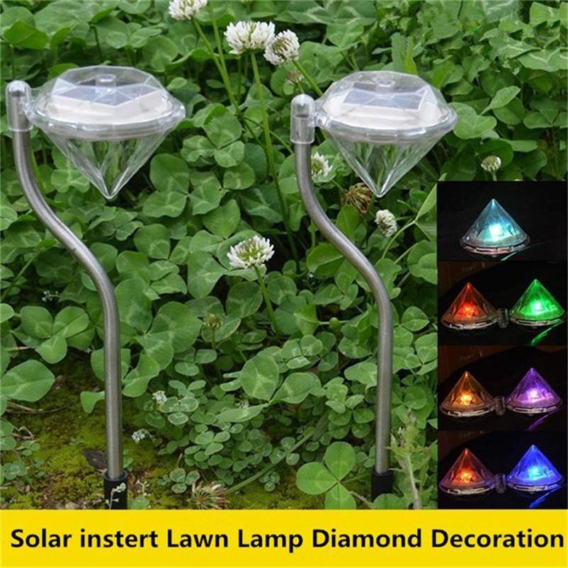 novo colorido led solar luz do jardim gramado lampada sombra diamante villa iluminacao caminho ao ar