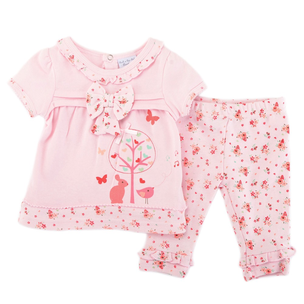 Luvena Fortuna 2pcs colors flower baby children kids 2-Piece cotton Dress & Leggings Set FAV7102 bebe comfort baby girls clothes