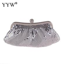 YYW Silver Metal Clutch Wedding Purse Bag Women Rhinestone Luxury Handbag Bags Designer Sequin Evening Party Clutches 2019