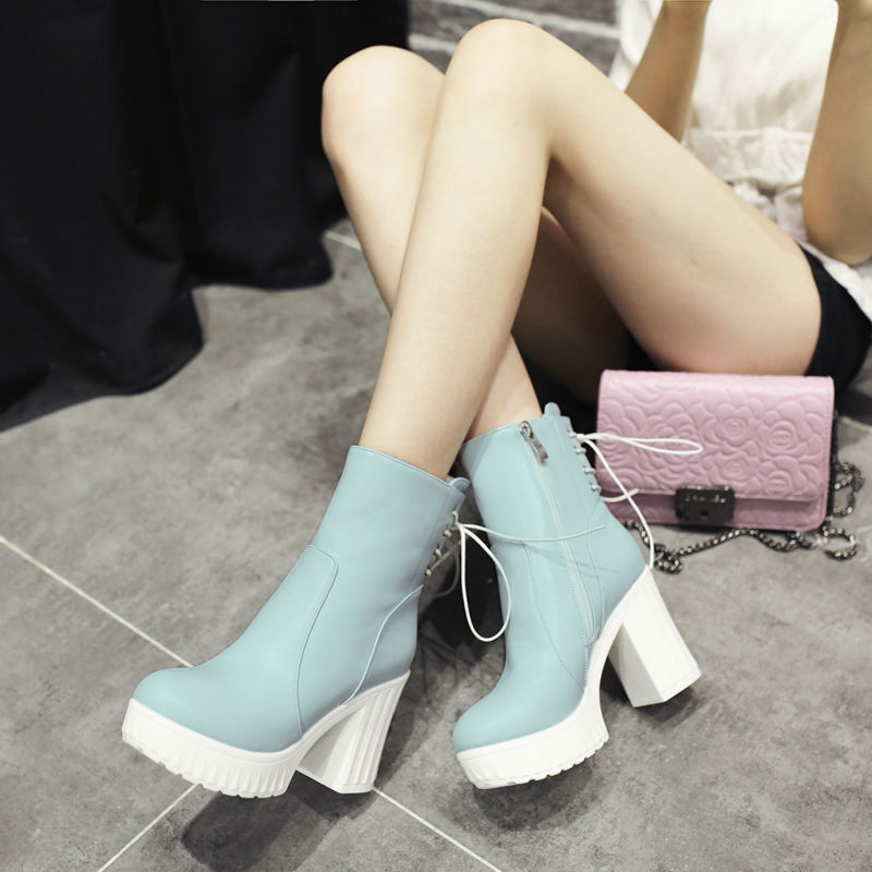 new fashion boots autumn winter boots platform high heels thick heels ankle boots lace-up lady shoes small big size 33-42 0120 big size 34 43 vintage thick high heels platform ankle boots female fashion shoes woman buckle charm lace up fall winter boots