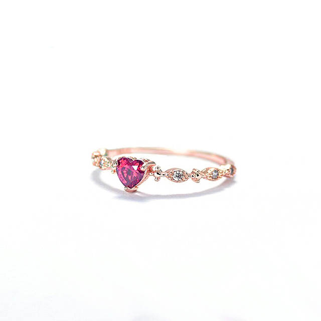 1eaada8f7dbe6 Red Heart Crystal Rings For Women Gold Color Delicate Wedding Engagement  Rings Simple Rings Jewelry female anel Love Gifts