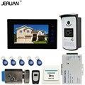 JERUAN 7 ''сенсорный ключ Цветной Экран Видео Домофон Домофон 1 Монитор + ТВЛ Доступа RFID Камера + Электронный замок