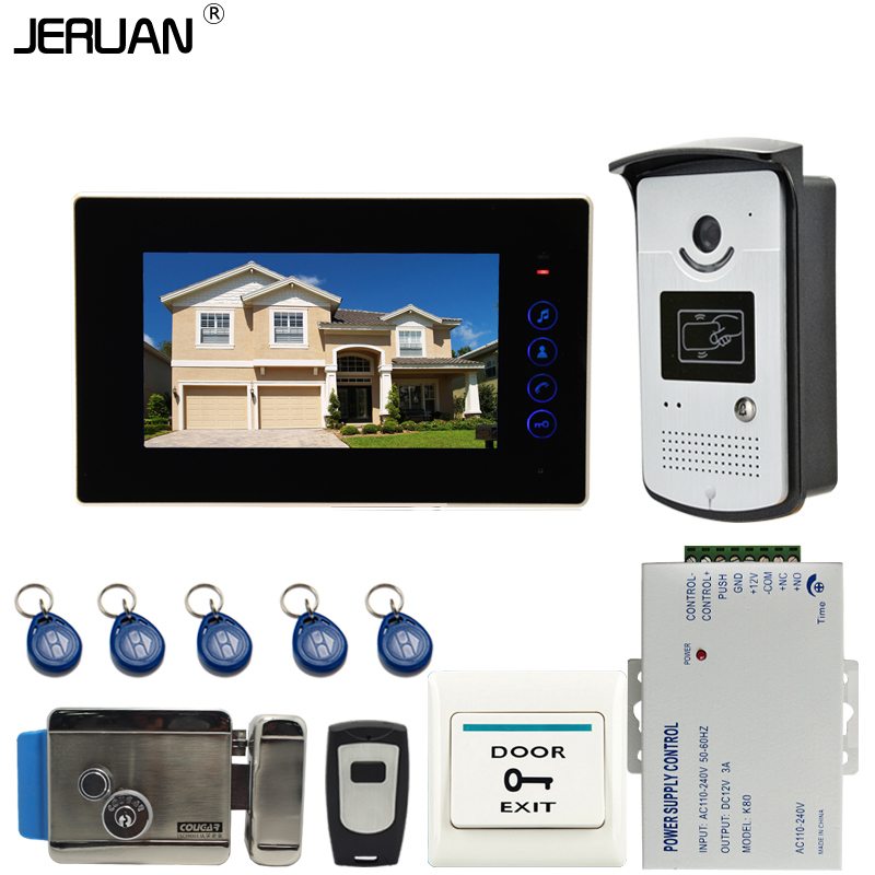 JERUAN 7`` touch key Color Screen Video DoorPhone Intercom System 1 Monitor +700TVL RFID Access Camera + Electronic lock
