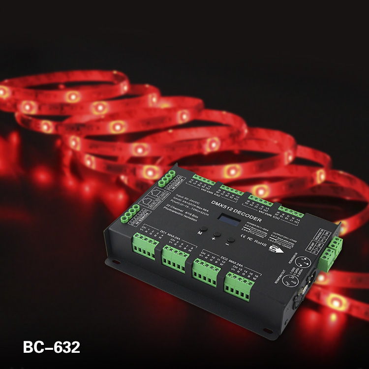 BC 632 32CH CT RGB RGBW DMX LED Decoder DC5 24V RJ45 8ports x 4CH Constant Voltage DMX512 output controller for led lights