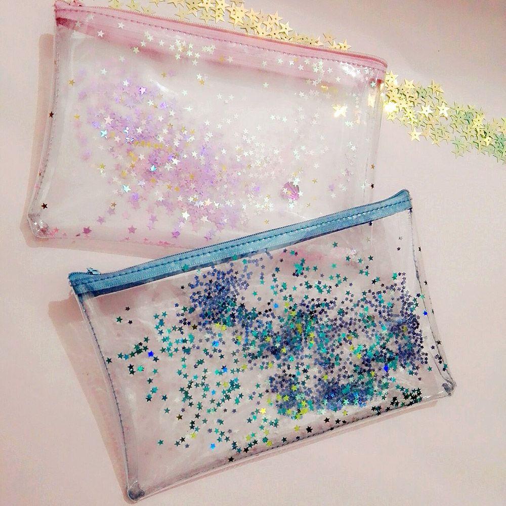 Fashion PVC Water Proof Transparent Cosmetic Case Cute Glitter Stars Plastic Zipper Cosmetic Bag Storage