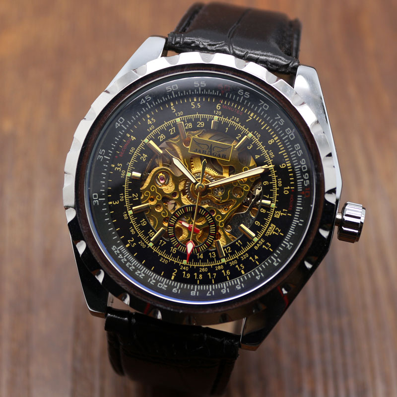 Luxury Men's Automatic Self Wind Wrsit Watch With Leather Strap Best Birthday Gift