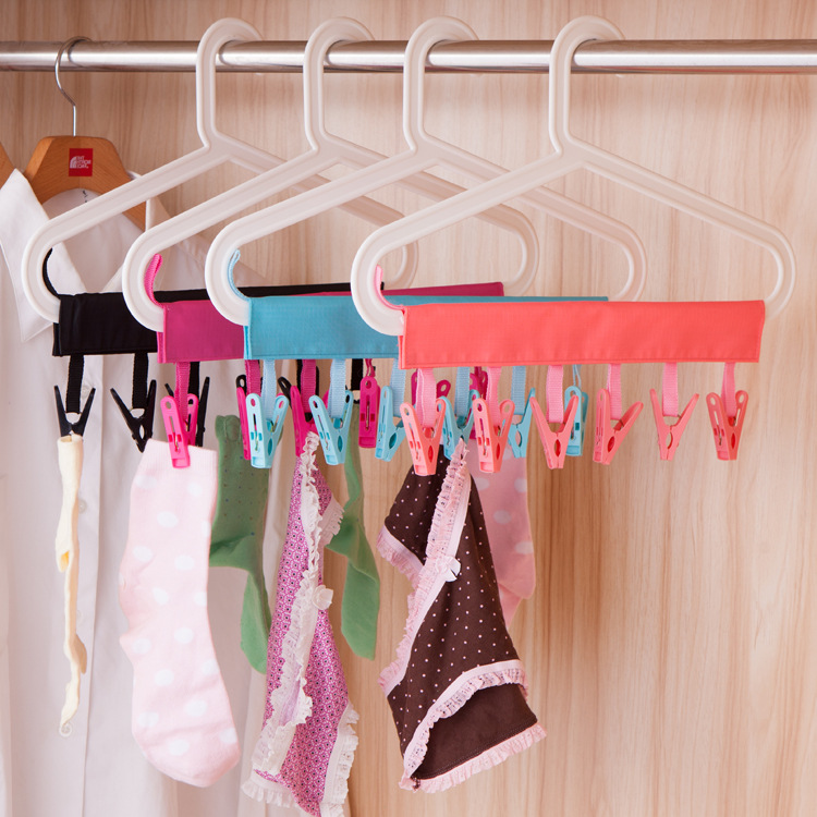 3PC Portable Floding Cloth Clothes Hanger Travel Bathroom Hanger Rack For Socks Towel Clips Clothes Pegs 4 Colours