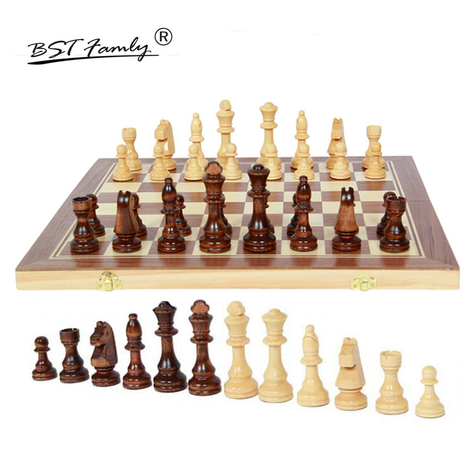 BSTFAMLY Wood Chess Set Game of International Chess Chessman Folding 50*50cm Chessboard Chess Pieces King Height 105mm I17 chess and mathematical thinking